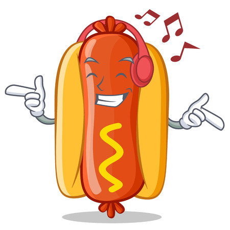 Listening Music Hot Dog Cartoon Character