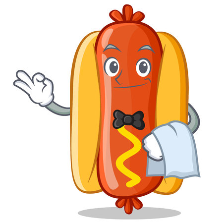 Waiter Hot Dog Cartoon Character