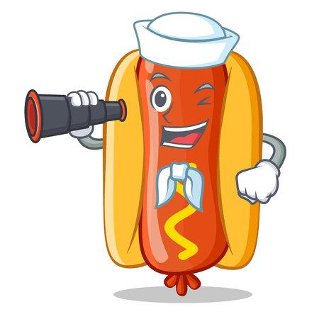 Sailor With Binocular Hot Dog Cartoon Character