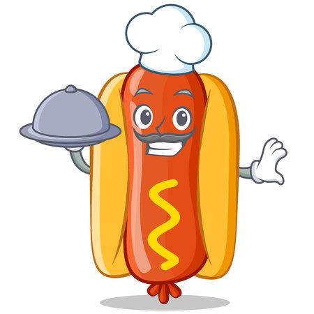 Chef With Food Hot Dog Cartoon Character 向量圖像