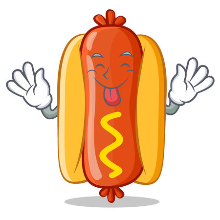 Tongue Out Hot Dog Cartoon Character 向量圖像