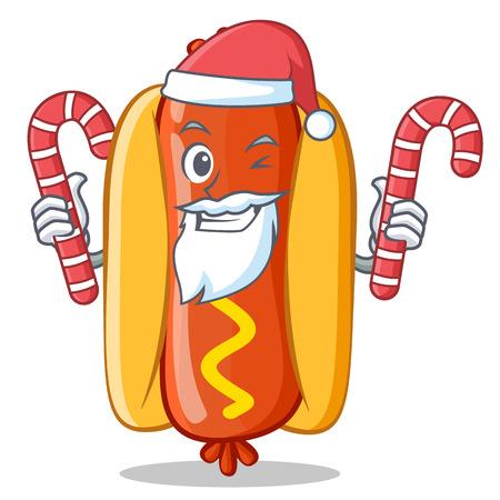 Santa With Candy Hot Dog Cartoon Character