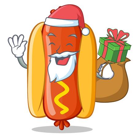 Santa With Gift Hot Dog Cartoon Character