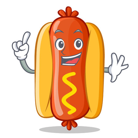 Finger Hot Dog Cartoon Character