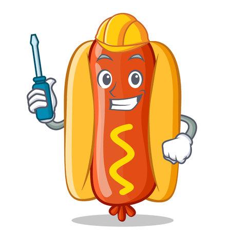 자동차 핫도그 만화 캐릭터 스톡 콘텐츠 - 86202686