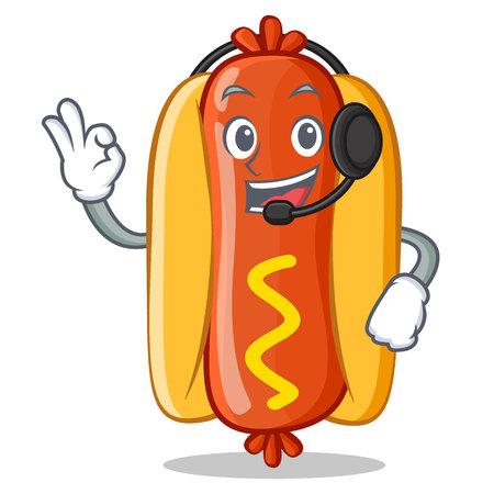 With Headphone Hot Dog Cartoon Character 向量圖像