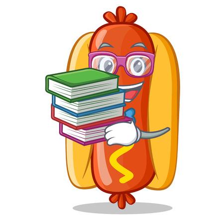 本のホットドッグの漫画のキャラクターを持つ学生