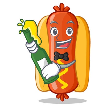 With Beer Hot Dog Cartoon Character