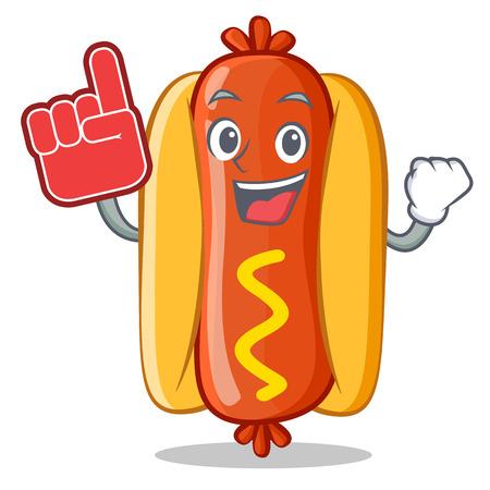 Foam Finger Hot Dog Cartoon Character