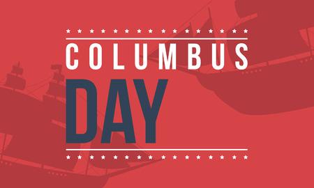 Día de Columbus sobre fondo rojo Foto de archivo - 86222132