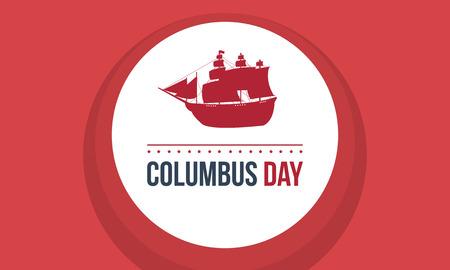 Día de Columbus sobre fondo rojo Foto de archivo - 86222134