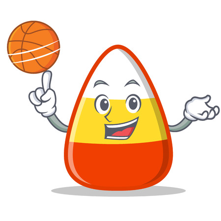 Playing basketball candy corn character cartoon