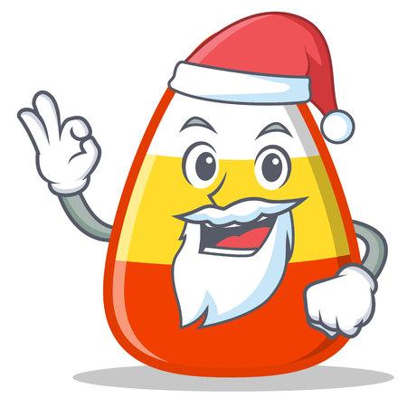 Santa candy corn character cartoon vector illustration.