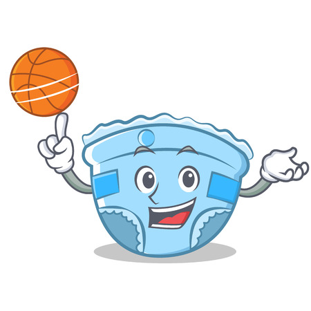 Playing basketball baby diaper character cartoon. Ilustração