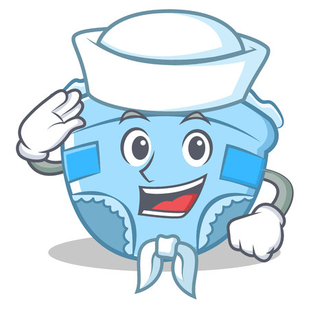 Sailor baby diaper character cartoon.