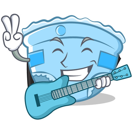 With guitar baby diaper character cartoon.