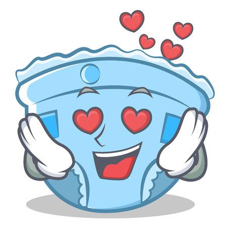 In love baby diaper character cartoon.