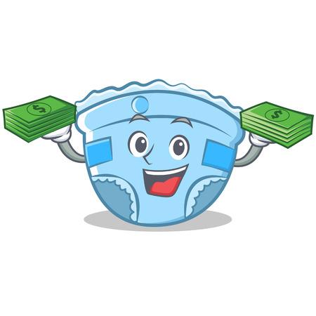 With money baby diaper character cartoon.