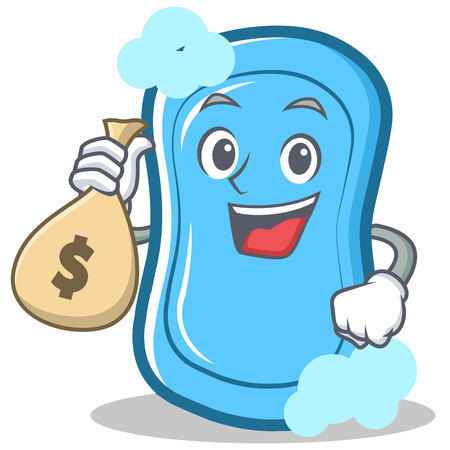 With money bag blue soap character cartoon vector illustration Illustration