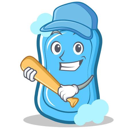 Jugando al personaje de béisbol azul personaje de dibujos animados ilustración vectorial Foto de archivo - 86633454