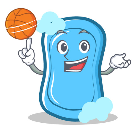 Playing basketball blue soap character cartoon vector illustration
