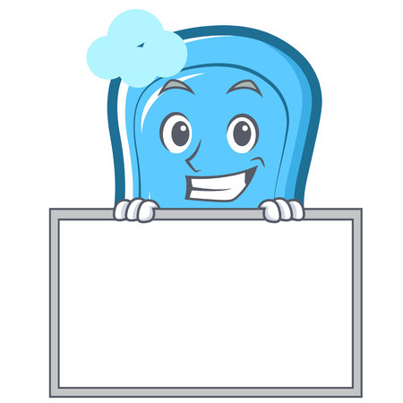 Grinning with board blue soap character cartoon vector illustration. Illustration