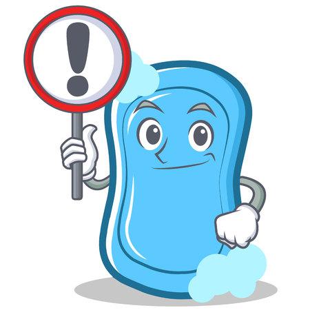 Con el signo de la ilustración del vector de la muestra de jabón azul . Foto de archivo - 86633464