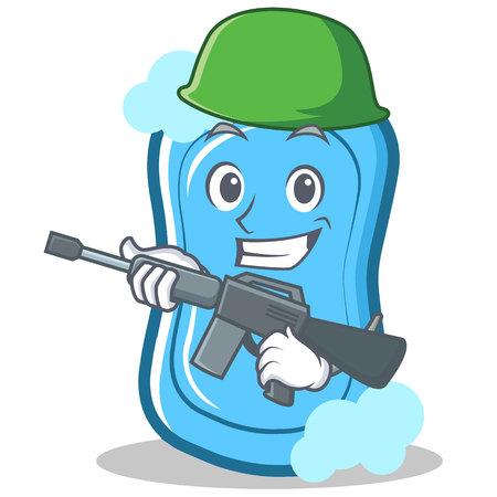 Army blue soap character cartoon vector illustration. Illustration