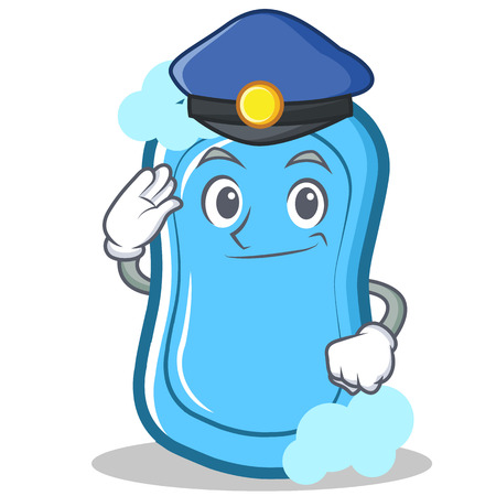Police blue soap character cartoon vector illustration.
