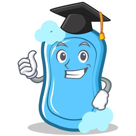 Ilustración de vector de graduación azul jabón personaje de dibujos animados Foto de archivo - 86633489