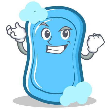 Successful blue soap character cartoon vector illustration