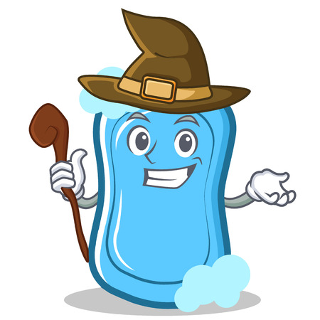 Witch blue soap character cartoon vector illustration