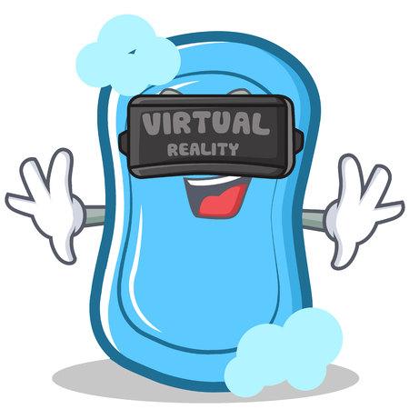 Con la ilustración de vector de dibujos animados de personaje de jabón de realidad virtual azul Foto de archivo - 86633500