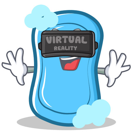 With virtual reality blue soap character cartoon vector illustration Illustration