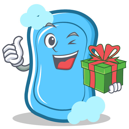 With gift blue soap character cartoon vector illustration