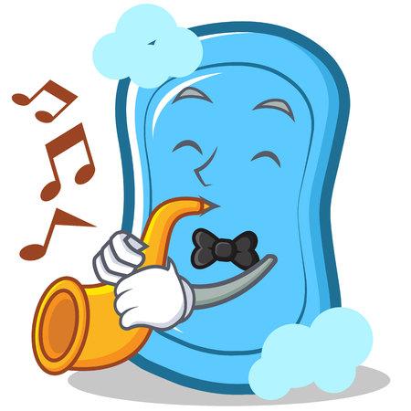 Con caricatura de personaje de trompeta azul jabón Foto de archivo - 86746103