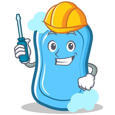 Dibujos animados automotrices de personaje de jabón azul Foto de archivo - 86746104