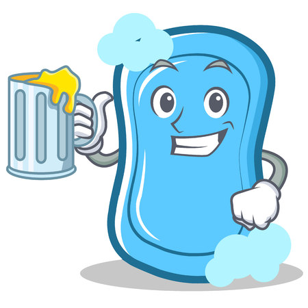 With juice blue soap character cartoon vector illustration