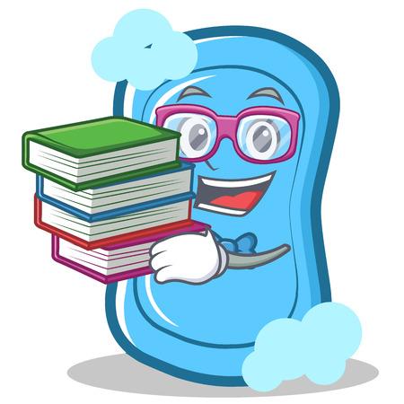 Estudiante con el libro azul de dibujos animados ilustración vectorial de dibujos animados de los niños Foto de archivo - 86746126