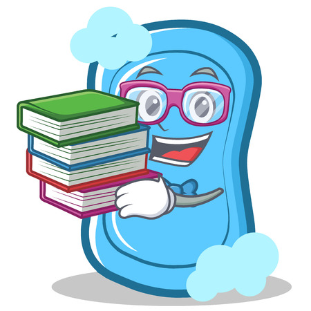 Student with book blue soap character cartoon vector illustration