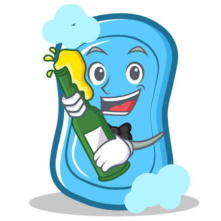 With beer blue soap character cartoon vector illustration Illustration