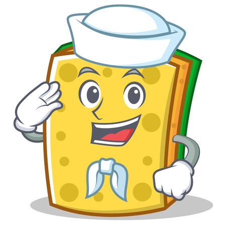 Sailor sponge cartoon character funny Illustration