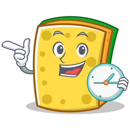 With clock sponge cartoon character funny vector illustration