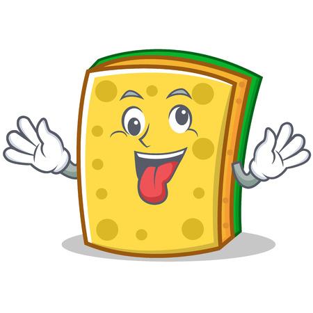Crazy sponge cartoon character funny Illustration