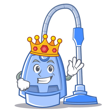 King vacuum cleaner character cartoon vector illustration Illusztráció