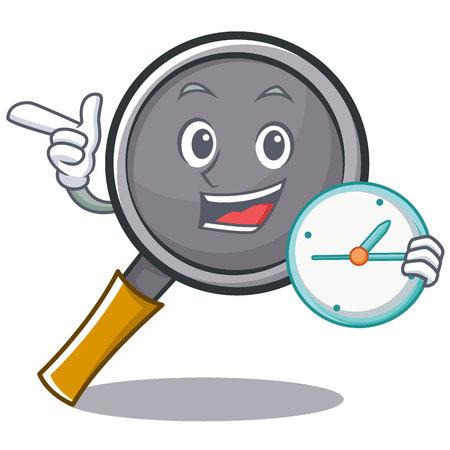 with clock frying pan cartoon character