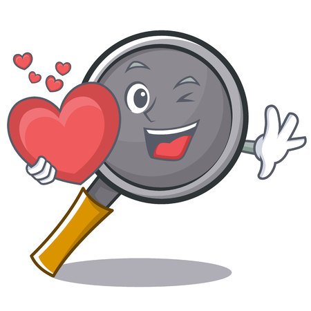 With heart frying pan cartoon character vector illustration