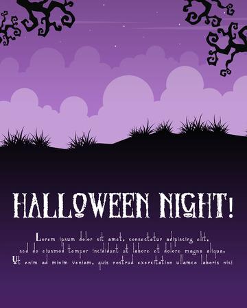 Happy Halloween poster on purple background vector illustration Illusztráció