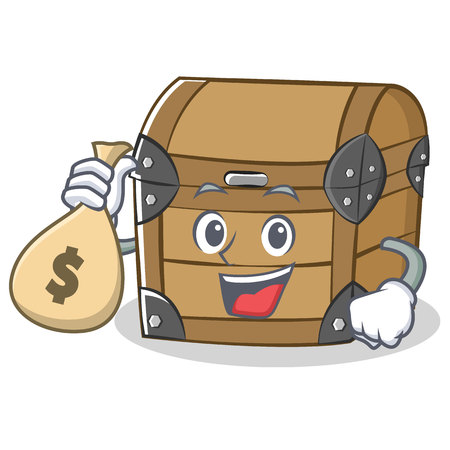 With money bag chest character cartoon style illustration.