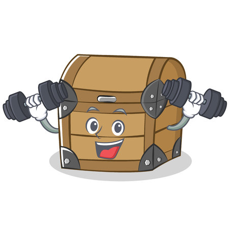 Fitness chest character cartoon style Illustration